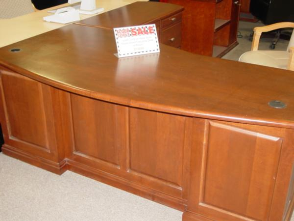 hoppers office furniture - used solid wood l-shape executive desk