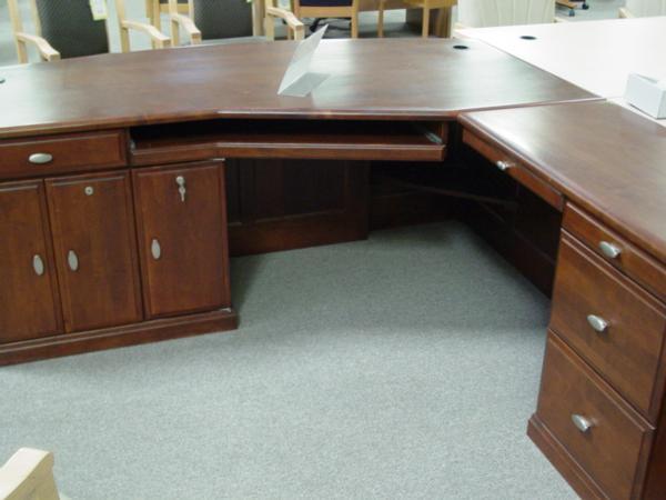 Used Solid Wood L Shape Executive Desk