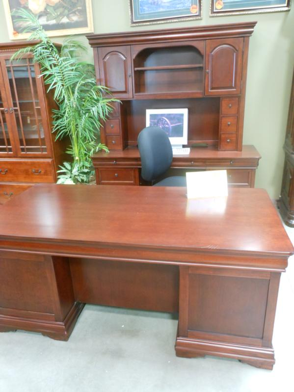 used wood executive desk and credenza hutch